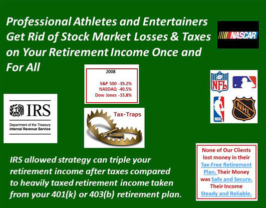 Professional Athletes Get rid of stock market losses and retirement taxes and secure your financial future with a tax-free solution